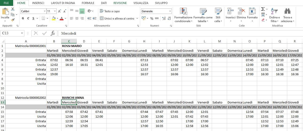 Office online - file Excel delle rilevazioni presenze in Fluida